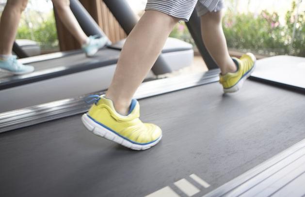 feet on the treadmill